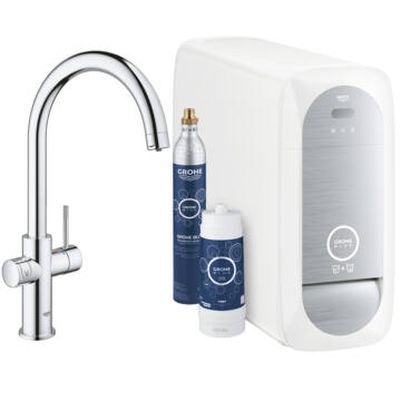 Grohe Blue Home C-kifolyóval (31455001) Ondus applikációval ellenőrzi a CO2 palackot és a szűrőt