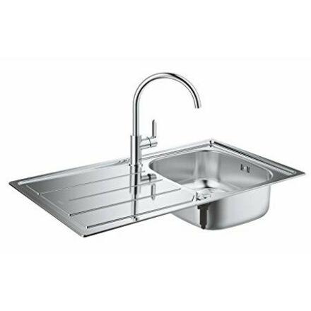 Grohe Bau mosogatótálca egy medence + csepptálca Bauedge mosogató csapteleppel (31562SD0)